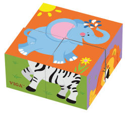 4pce 6 Side Cube Puzzle Wild Animals Rgs50836