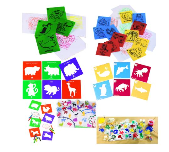 Animal Paint Rub, Stencils And Stamp Set