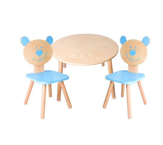 Classic World Table And Chair X2 Set Blue