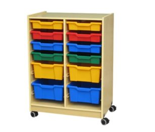 Roll & Storage Cabinet Wood 12 Bin Flat