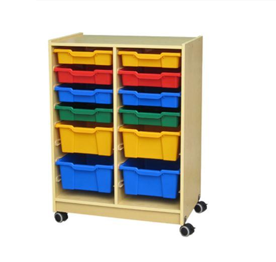 Roll & Storage Cabinet Wood 12 Bin Flat