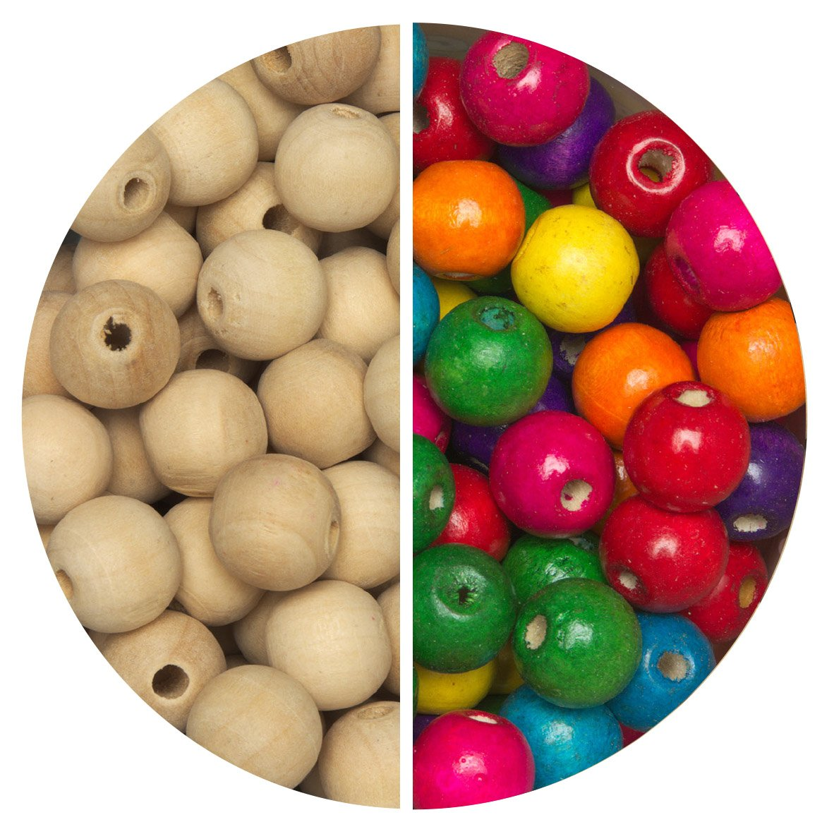 Round Assorted Coloured Wooden Beads