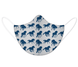 Facemask Kids Impression2 Panels Horse Silhouettepattern Navy